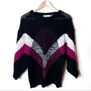Vintage 80s Boucle Abstract Sweater Black Fuscia
